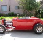Red Ford Roadster with Headers