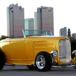 Yellow Roadster with Skyline